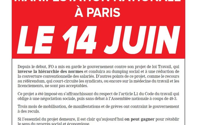 Grève interprofessionnelle MANIFESTATION NATIONALE À PARIS LE 14 JUIN