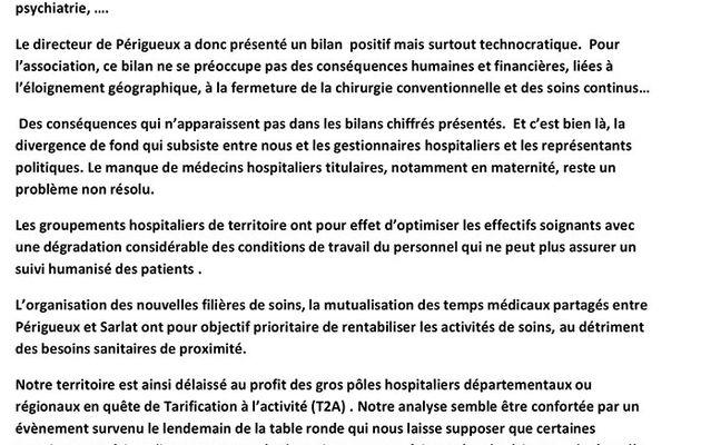 Hôpital de Sarlat : le point de vue du Comité de défense concernant la deuxième table-ronde
