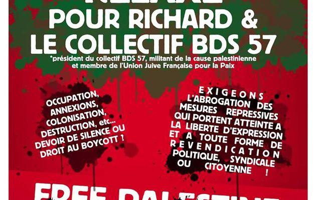 En soutien à Richard et au collectif BDS 57, rassemblement le 24 janvier à partir de 12h30 devant le TGI de Metz