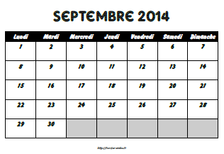 Calendriers scolaires 2014-2015
