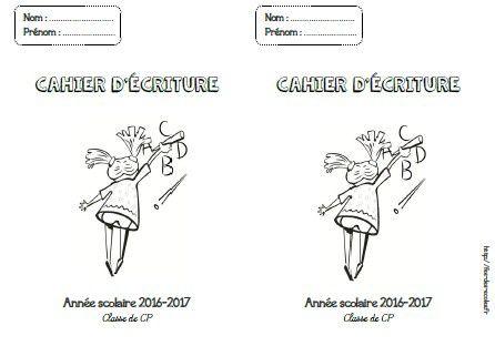 Page de garde cahier d'écriture - CP-CE1