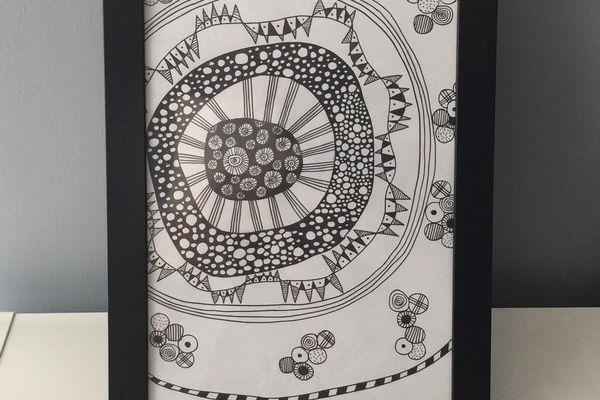 Cadre en doodling noir et blanc
