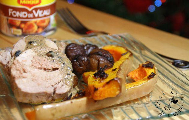 Filet Mignon Farci au Foie Gras, Sauce Périgourdine, Butternut Rôtie
