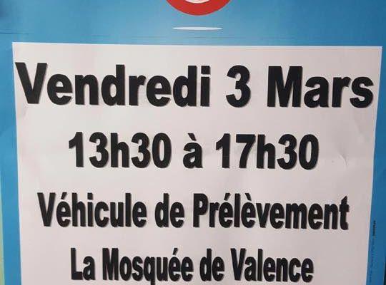 Don du sang mosquée de Valence
