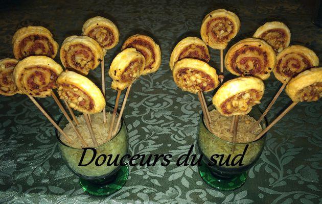 Sucettes feuilletée chorizo/pignons de pins