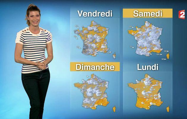 📸2 📺1 CHLOE NABEDIAN @ChloeNabedian @Soniadsm ce midi pour LA METEO @France2tv #vuesalatele