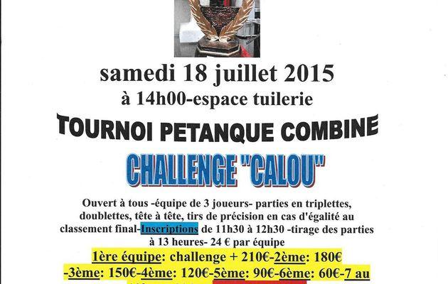 TOURNOI PETANQUE COMBINE 18 juillet 2015
