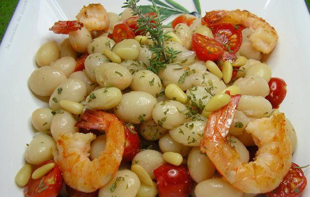 salade de coco de paimpol aux tomates cerise et gambas grillées