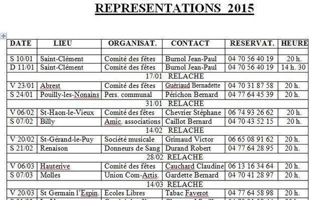 Représentations 2015 des Copains du Champala
