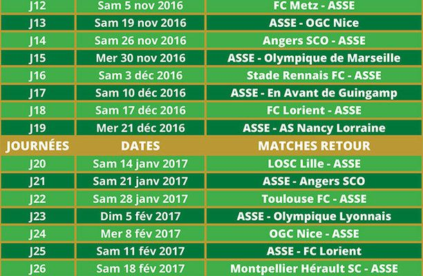 Calendrier ASSE