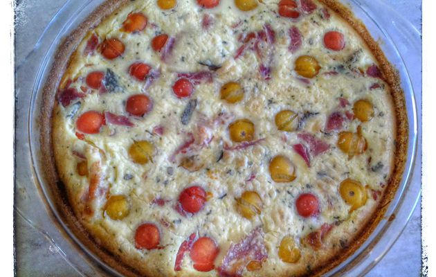 Clafoutis de tomate cerise et jambon au thermomix