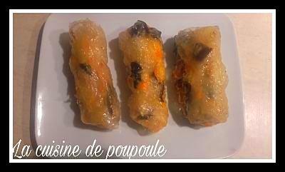 Nems de porc (carottes, champignons) au thermomix ou sans