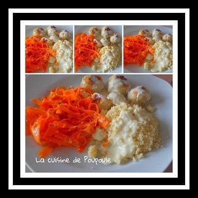 Boulettes de poulet, sauce au chèvre, tagliatelles de carottes au thermomix ou sans