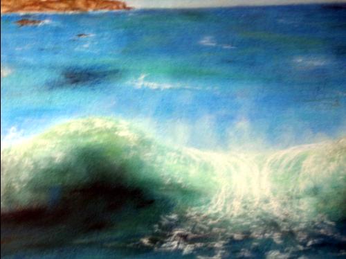 pastel : vague sur la bretagne