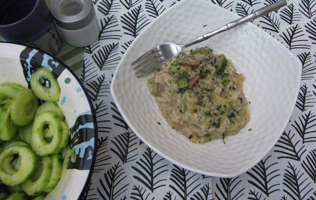 Risotto de courgettes aux champignons et fromage de chèvre