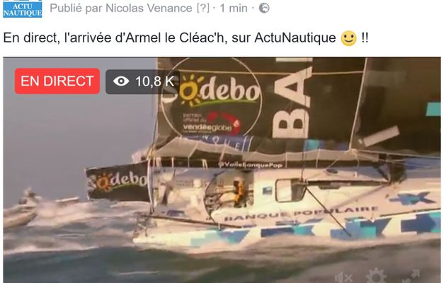 Vendée Globe - L'arrivée d'Armel le Cléac'h, en direct sur la page Facebook d'ActuNautique !