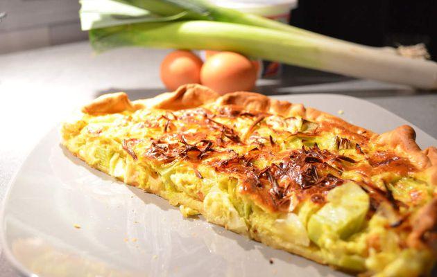 Tarte saumon/poireaux/curry