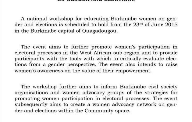 NATIONAL WORKSHOP TO EDUCATE BURKINABE WOMEN ON GENDER AND ELECTIONS