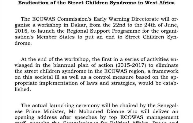 ECOWAS meets in Dakar to Support Member States in the Eradication of the Street Children Syndrome in West Africa