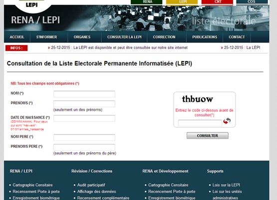 Benin/Consultation de la Liste Electorale Permanente Informatisée (LEPI)