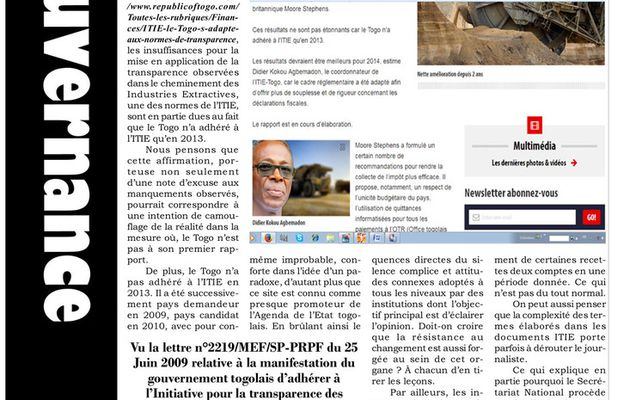 A l'école de la transparence  Le site republicoftogo.com «flash»