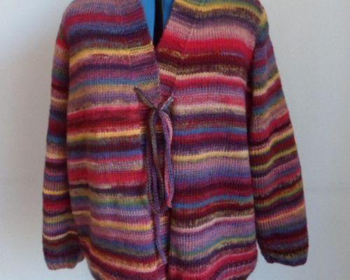 Une veste et une écharpe multicolore pour les jours tristes et froids