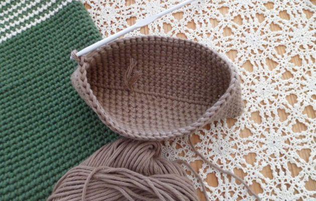 Gants exfoliants en fil coton crocheté