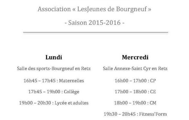 horaires danse et Fitness Form' Saison 2015-2016