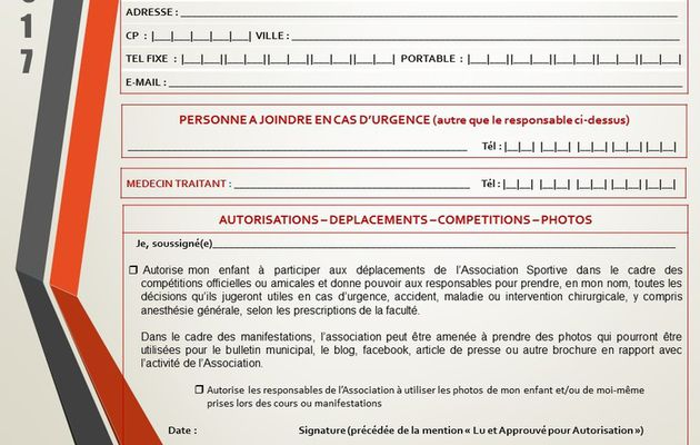 inscription Gymnastique saison 2016-2017