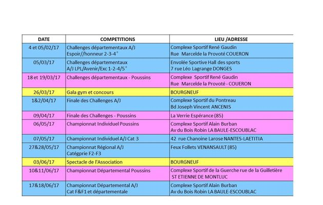 CALENDRIER COMPETITIONS & MANIFESTATIONS - 2016-2017
