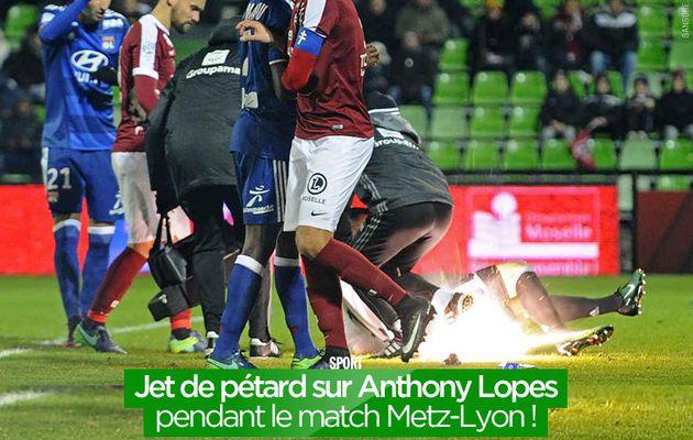 Jet de pétard sur Anthony Lopes pendant le match Metz-Lyon ! #FCMOL