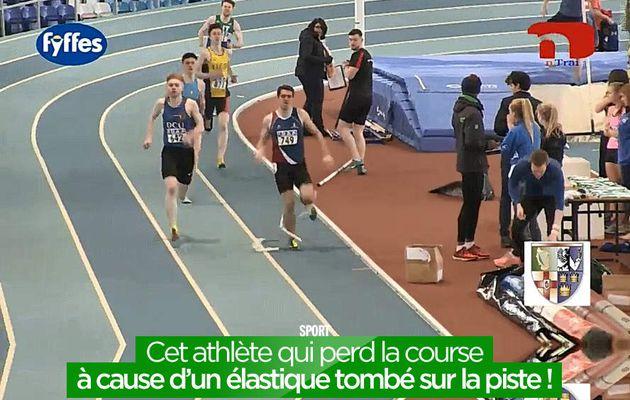 Cet athlète qui perd la course à cause d'un élastique tombé sur la piste ! #fail