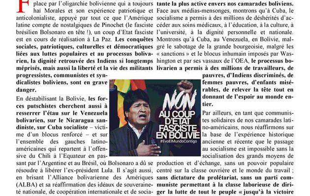 Soutien à Evo Morales et au peuple bolivien [communiqué commun]