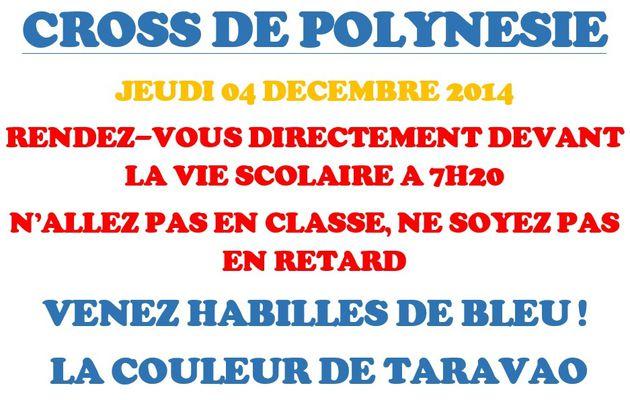 CROSS DE POLYNÉSIE : JEUDI 04 DÉCEMBRE 2014