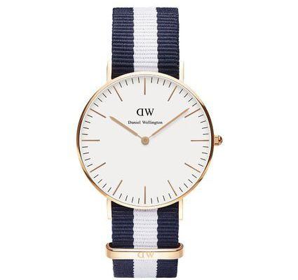 Daniel Wellington - Reloj analógico para mujer de nailon blanco