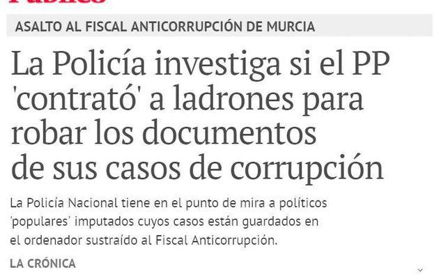 Robo de documentos que prueban la corrupción del Partido Popular