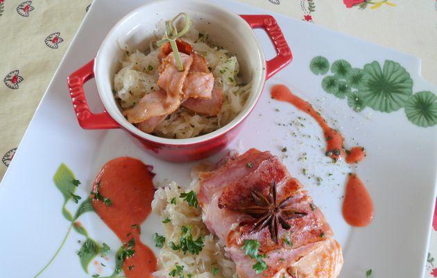 Choucroute de saumon au lard
