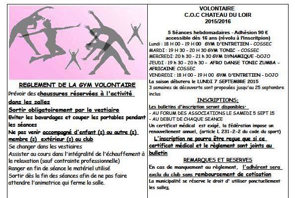 Info Gym Volontaire