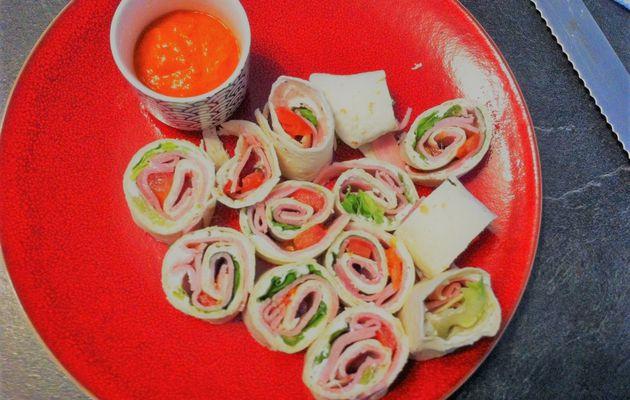 Wrap léger chèvre, jambon et sa sauce poivron