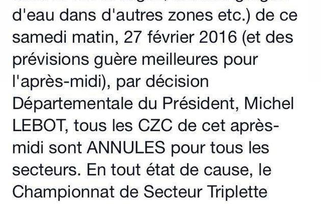 TOUS les CZC annulés en Haute-Garonne, suite aux intempéries !!!