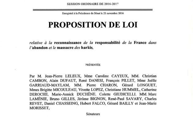 propostion de loi 23-11-2016 relative à la reconnaissance de la responsabilité de la France dans l'abandon et le massacre des harkis