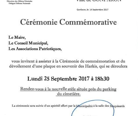 Cérémonie de commémoration et du dévoilement d'une plaque le 25 Septembre 2017 à Gonfaron (83)