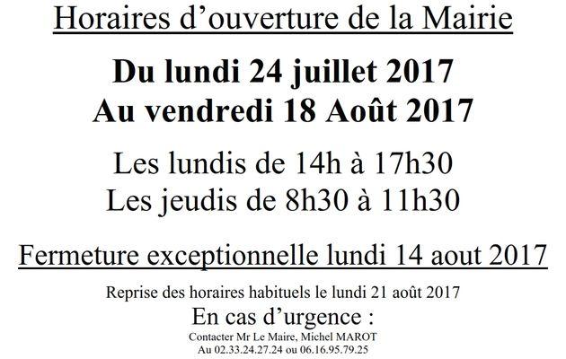 Horaires d'ouverture de la Mairie