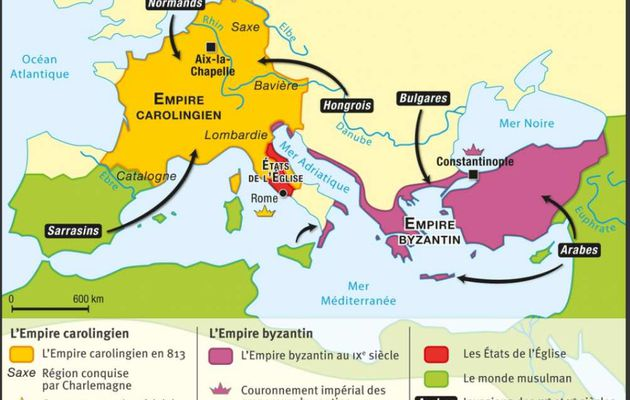 Carte : Byzance et l'Europe carolingienne