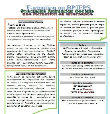 Formation au BP JEPS Animation Sociale