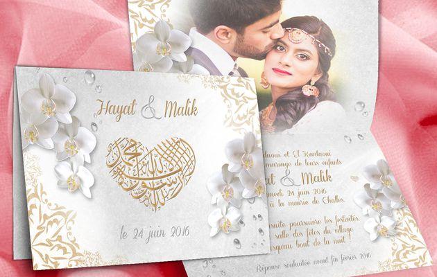 Thème orchidées pour votre faire-part de mariage oriental et musulman