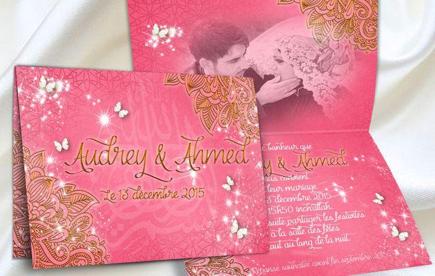 Fuschia et Or avec des papillons pour un faire-part de mariage oriental élégant et coloré