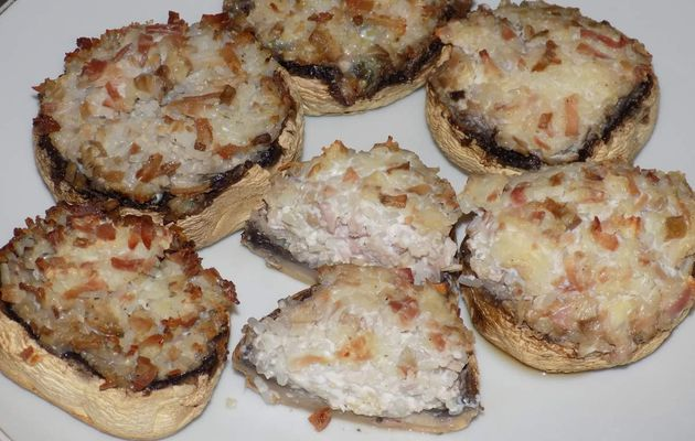 Champignons farcis konjac/jambon dukan
