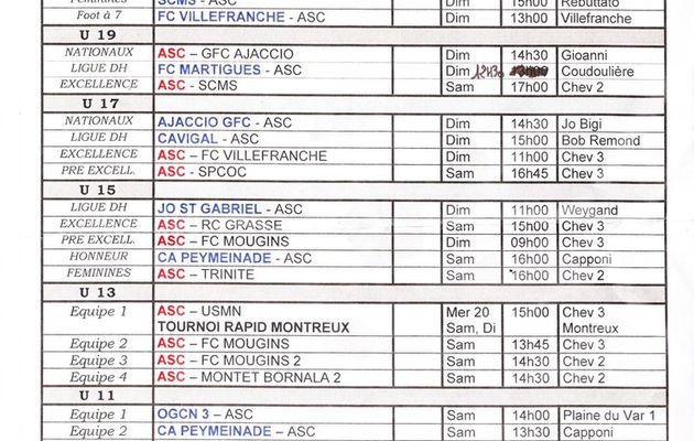 Programme des matchs du Week End.
