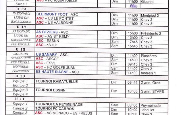 Planning des matchs du Week end du 6 et 7 Février 2016.